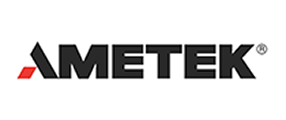 Ametek HDR Logo in block black lettering with a red leg on the A