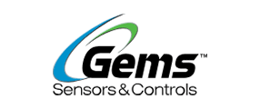 Gems Sensors & Controls Logo with blue-green swish and black letters