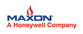Maxon, A Honeywell Company, Logo in blue and red with red flame over X