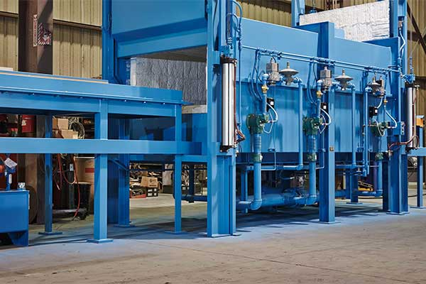 A Unitherm custom build industrial furnace painted blue.